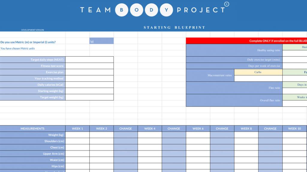 Blueprint spreadsheet